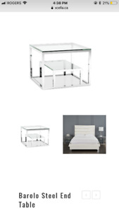 Modern Glass and Stainless Steel Table