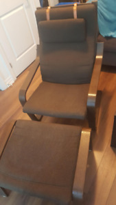 Used IKEA Poang Fabric Chair and Foot Rest