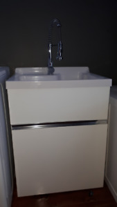 Ove laundry sink, cabinet and faucet