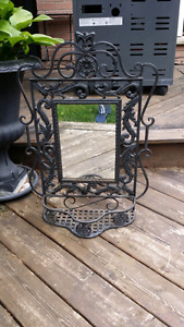 Heavy black cast iron mirror with tray/basket