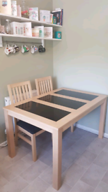 Black Granite Dining Table w 4 chairs