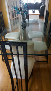 6 seat glass table set
