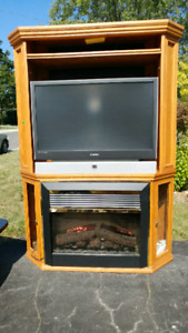 Oak tv/electric fireplace unit