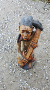 Carved Wood Statue Guitar Player