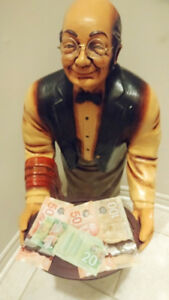 Butler Old Waiter w/Tray Statue Restaurant Kitchen Cute decor