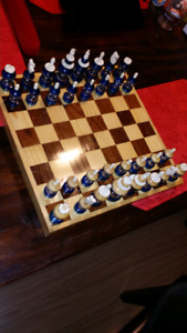 Bone And Wood Chess Set Made In Mexico