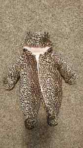 BABY GIRL 12 Month Old Leopard Print Snow Suit!!