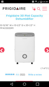 Fridgedaire 30 Pint Dehumidifier ($180 OBO)