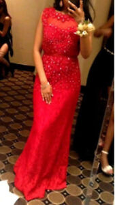 Elegant Red Lace prom and party evening gown for $130