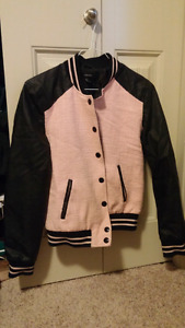 Forever 21 Faux Leather black and pink Jacket