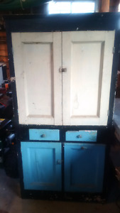 Antique Rustic Hoosier Kitchen Cabinet