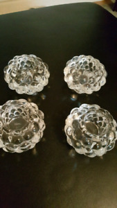 crystal ORREFORS  raspberry candle holders . each $25 -Sweden