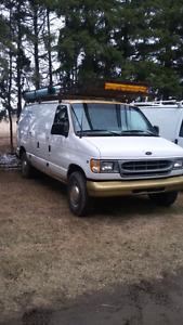 2001 ford cargo van 3/4 ton work van with rack