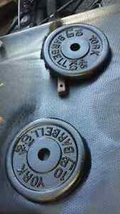 Steel.. barbell weights.. each 10 pounds..2 for.. $20