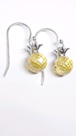 🍍🎁⚘100% 925 Sterling silver Hanging Pineapple Crystal Drop Earrings