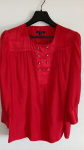 Size 16 Ruby Red Silk Blouse by Anne Klein- New