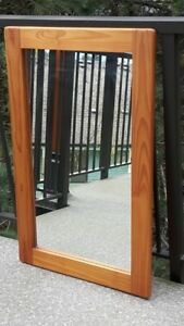 Mirror with Light Pine Wood Coloured Frame - VGC