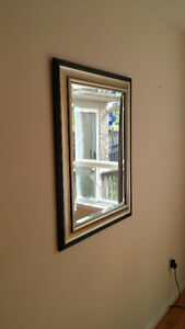 Beveled mirror with silver and metallic and wood frame for sale
