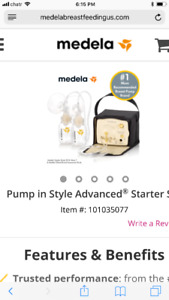 New/ sealed: Medela pump in style starter set