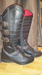 Sz 10 ladies leather motorcycle boots