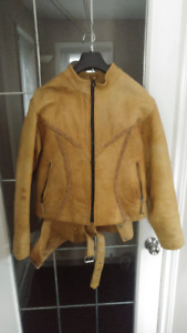Ladies Tan Leather Motorcycle Jacket and Chaps
