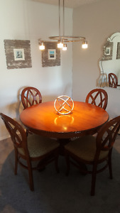 Wooden Dining Table with 4 Chairs and Lighting Fixture