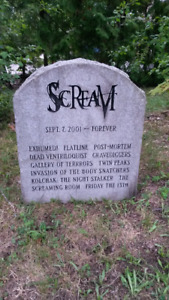 HALLOWEEN PROP REAL SCREAM CHANNEL TV STONE TOMBSTONE $450 obo