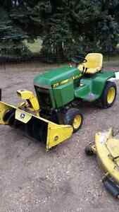 John Deere 318 with snowblower and mower