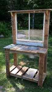 Custom built potting bench from reclaimed barn materials