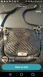 Coach ~ Black Leather Weave Large Crossbody