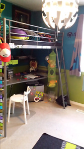 Metal loft bed with desk and mattress