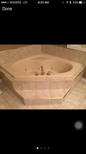 Corner Jacuzzi tub with Delta faucets