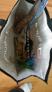 20g fish tank with heater, filter, ornaments and rocks