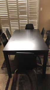 Dining wood table with six chairs