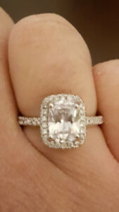 Real Silver ring with large stone and halo of diamonds!