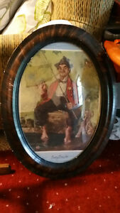 ANTIQUE CONVEX GLASS WALL PICTURE FRAME LARGE