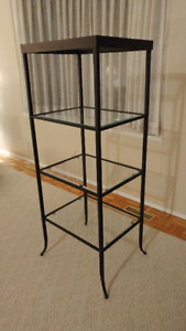 Black Metal shelf unit with 4 glass shelves - in very good cond.