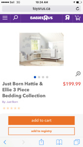 Complete Ellie and Hattie Elephants Crib Bedding Set with Extras