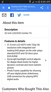 Tv toshiba dvd/lcd 1080p combination 32inch/pouce