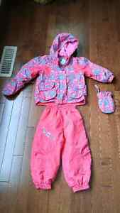 Winter jacket, snow pants, mittens set, 24 mo baby/toddler girl