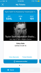 Taylor Swift Concert Tickets - August 4, 2018