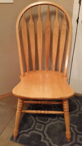 FOUR Sturdy, Solid Oak Dining Chairs