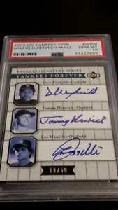 YANKEES TRIPLE AUTO Gem Mt 10: Winfield,  Henrich, Mazzili /50