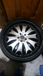 "full set of 4 22""s 5x120 lorenzo rims with falken tires"