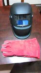 Auto darkening welding helmet and gloves.