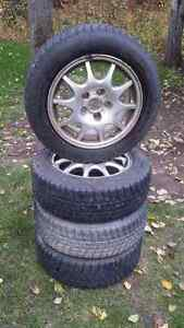 195/60r15 Michelin Alpin Tires on Saab Rims 5x110