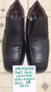 MERONA Soft Gel Leather Shoes. Mens Size 12. Mint Cond. 9/10