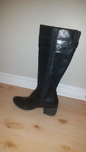 Black leather winter lined boots