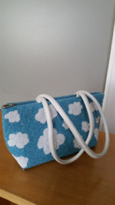 Hand Beaded Turquoise Purse with White Clouds