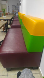 Restaurant leather benches